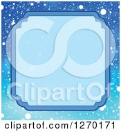 Clipart Of A Blue Christmas Snow Frame And Background Royalty Free Vector Illustration