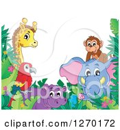 Clipart Of A Happy Monkey Elephant Hippo Parrot And Giraffe With Jungle Foliage Royalty Free Vector Illustration