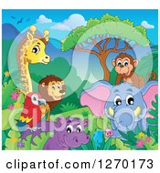 Clipart Of A Happy Monkey Elephant Hippo Parrot Lion And Giraffe On A Sunny Day Royalty Free Vector Illustration