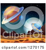 Clipart Of A Foreign Planet With A Ufo And Moon Royalty Free Vector Illustration