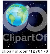 Clipart Of Planet Earth And The Moon In Outer Space Royalty Free Vector Illustration