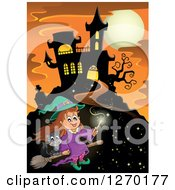 Clipart Of A Happy Witch Girl Flying A Broomstick With A Cat By A Haunted House Over An Orange Sky With A Full Moon Royalty Free Vector Illustration