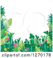 Clipart Of A Tropical Jungle Foliage Border Royalty Free Vector Illustration