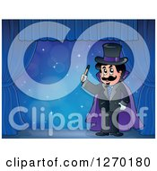 Clipart Of A Male Magician On A Blue Stage Royalty Free Vector Illustration