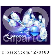 Clipart Of A 3d Blue Ball Crashing Into White Pins With Sparkles Over Purple And Text Royalty Free Vector Illustration by Oligo