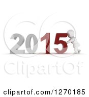 3d White Character Pushing New Year 2015 Numbers Together