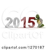 Clipart Of A 3d Tortoise Pushing New Year 2015 Together Royalty Free Illustration