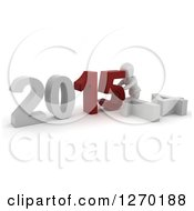 3d White Character Pushing New Year 2015 Numbers Together Over Knocked Down 14