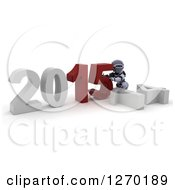 Clipart Of A 3d Robot Pushing New Year 2015 Together Over A Fallen 14 Royalty Free Illustration