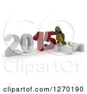 Clipart Of A 3d Tortoise Pushing New Year 2015 Together Over A Fallen 14 Royalty Free Illustration