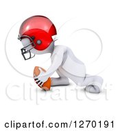Clipart Of A 3d White Man In Profile Playing Football Royalty Free Illustration
