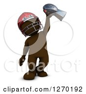 Clipart Of A 3d Brown Man Football Player Holding Up A Trophy Royalty Free Illustration
