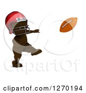 Clipart Of A 3d Brown Man Throwing A Football Royalty Free Illustration