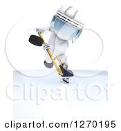 Clipart Of A 3d White Man In Profile Hiting A Hockey Puck Forward Royalty Free Illustration