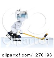 Clipart Of A 3d White Man In Profile Playing Hockey Royalty Free Illustration by KJ Pargeter