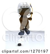Clipart Of A 3d Brown Man Swinging A Hockey Stick At A Puck Royalty Free Illustration