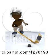 Clipart Of A 3d Brown Man Hockey Player In Action Royalty Free Illustration by KJ Pargeter