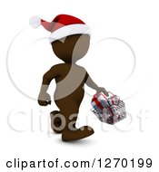 Clipart Of A 3d Brown Man Christmas Shopping And Carrying A Basket Of Gifts Royalty Free Illustration