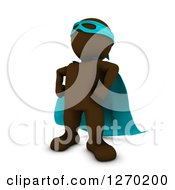 Clipart Of A 3d Brown Man Super Hero Standing Tough In A Blue Cape Royalty Free Illustration