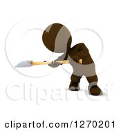 Clipart Of A 3d Brown Man Swinging An Axe Royalty Free Illustration