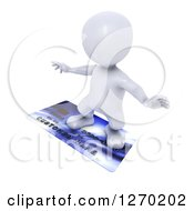 Clipart Of A 3d White Man Surfing On A Credit Card Royalty Free Illustration by KJ Pargeter
