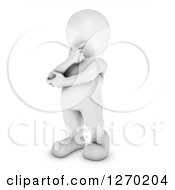 Clipart Of A 3d White Man Standing In Thought Royalty Free Illustration by KJ Pargeter