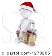 Clipart Of A 3d White Man Wearing A Santa Hat And Christmas Shopping Royalty Free Illustration by KJ Pargeter