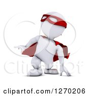 Clipart Of A 3d White Man Super Hero Touching The Ground Royalty Free Illustration