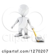 3d White Man Standing With An Axe