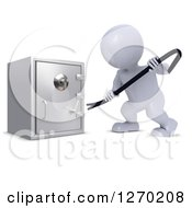 Clipart Of A 3d White Man Trying To Break Into A Safe With A Pry Bar Royalty Free Illustration by KJ Pargeter