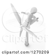 3d White Character Sitting On A Wind Turbine