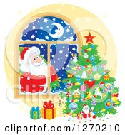 Clipart Of A Christmas Santa Claus Looking In At A Tree Through A Window Royalty Free Vector Illustration