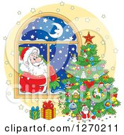 Clipart Of Santa Claus Looking In At A Christmas Tree Through A Window Royalty Free Vector Illustration