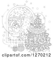 Clipart Of A Black And White Christmas Santa Claus Looking In At A Tree Through A Window Royalty Free Vector Illustration