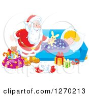 Clipart Of A Christmas Santa Claus Leaving A Stuffed Rabbit On A Blond Caucasian Sleeping Boys Bed Royalty Free Vector Illustration