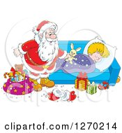 Clipart Of A Christmas Santa Claus Leaving A Stuffed Rabbit On A Blond White Sleeping Boys Bed Royalty Free Vector Illustration