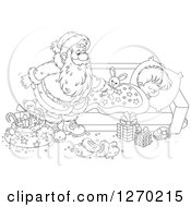 Clipart Of A Black And White Christmas Santa Claus Leaving A Stuffed Rabbit On A Sleeping Boys Bed Royalty Free Vector Illustration