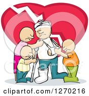 Clipart Of A Sketched Injured White Man Surrouneded By His Family And A Broken Heart Royalty Free Vector Illustration