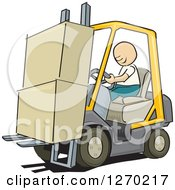 Sketched White Man Driving A Forklift With Boxes