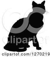 Black Silhouette Of A Sitting Cat Facing Right