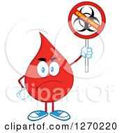 Clipart Of A Mad Blood Or Hot Water Drop Holding Up A No Ebola Virus Biohazard Sign Royalty Free Vector Illustration