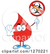 Clipart Of A Mad Blood Or Hot Water Drop Holding Out A Hand And Up A No Ebola Biohazard Sign Royalty Free Vector Illustration