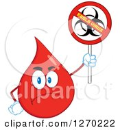 Clipart Of A Stern Blood Or Hot Water Drop Holding Up A No Ebola Virus Biohazard Sign Royalty Free Vector Illustration by Hit Toon