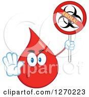 Clipart Of A Stern Blood Or Hot Water Drop Holding Out A Hand And Up A No Ebola Biohazard Sign Royalty Free Vector Illustration by Hit Toon