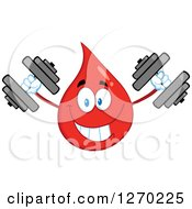 Clipart Of A Happy Blood Or Hot Water Drop Working Out With Dumbbells Royalty Free Vector Illustration