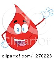 Clipart Of A Happy Blood Or Hot Water Drop Waving Royalty Free Vector Illustration