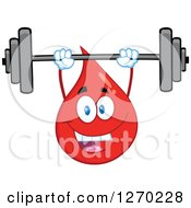 Clipart Of A Happy Blood Or Hot Water Drop Working Out With A Barbell Royalty Free Vector Illustration