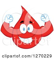 Clipart Of A Happy Blood Or Hot Water Drop Flexing His Muscles Royalty Free Vector Illustration