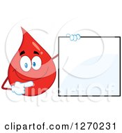 Clipart Of A Happy Blood Or Hot Water Drop Holding And Pointing To A Blank Sign Royalty Free Vector Illustration