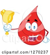 Clipart Of A Happy Blood Or Hot Water Drop Ringing A Donation Bell Royalty Free Vector Illustration